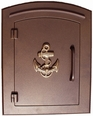 Column Mailbox with Anchor in Antique Copper