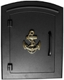Column Mailbox with Anchor in Black