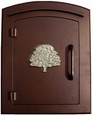 Column Mailbox with Oak Tree in Antique Copper