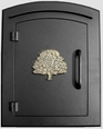 Column Mailbox with Oak Tree in Black