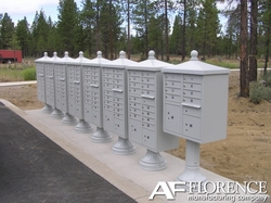 Postal Grey Cluster Box Unit with Finial Cap and Traditional Pedestal accessories - 16compartment