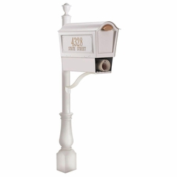 Deluxe Chalet Mailbox Package w/Newspaper Box - White