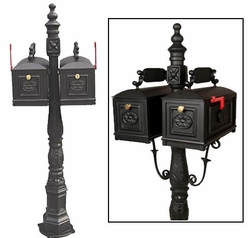 Double Curbside Mailbox with Ornamental Post