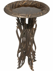 Dragonfly Birdbath & Pedestal - Oil Rub Bronze