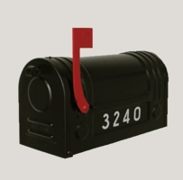E3Bk Galvanized Post Mount Style Modern Mailbox with Black Finish