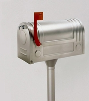 E3S Post Mount Modern Stainless Steel Mailbox and Matching Pole
