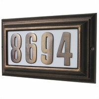 Lighted Large Address Plaque w/Raised Black polymer numbers