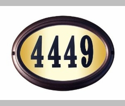 Large Oval Lighted Address Plaque w/ Black Polymer Numbers (Choose Frame Color)