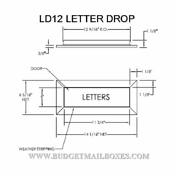LD12 Series Letter Drop w/ Angled Wall Liner Chute To 120SM Collection Box - Dark Bronze