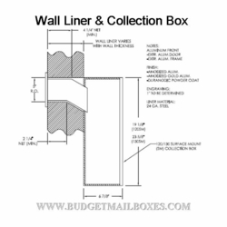 Letter Drop, Mail Slot, Wall Liner & Indoor Collection Box - Anodized Aluminum
