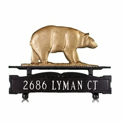 One Line Mailbox Address Sign with Bear