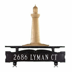 One Line Mailbox Address Sign with Cape Cod Lighthouse