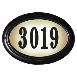 OVAL Lighted Address Plaque Black Frame