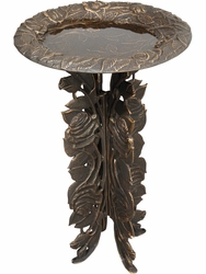 Rose Birdbath & Pedestal - Oil Rub Bronze
