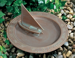 Sailboat Sundial Birdbath - Copper Verdi