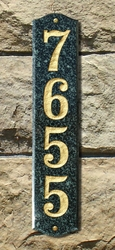 "Solid Granite Vertical Address Plaque (19"") with Engraved Numbers"