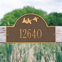 Standard Size Flying Duck Arch Wall or Lawn Plaque - (1 or 2 lines)