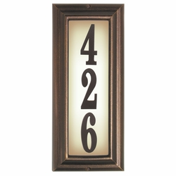 VERTICAL Lighted Address Plaque in Antique Copper