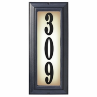 VERTICAL Lighted Address Plaque in Black