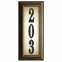 VERTICAL Lighted Address Plaque in French Bronze