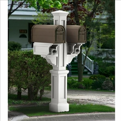 White Rockport Double Arm Mailbox Package