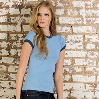 Ladies 100% Combed and Ringspun Cotton Ringer Tee