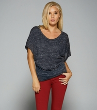 Ladies Flowy Draped Sleeve Dolman T-Shirt