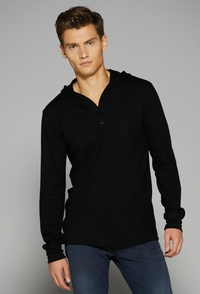 Men's Thermal Long-Sleeve Henley Hoodie (Item 3551-R)