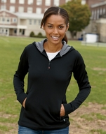 Russell Athletic Ladies Fleece Quarter-Zip Pullover Hoodie