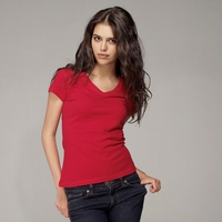 Women's 100% Combed and Ringspun Cotton V-Neck T-Shirt