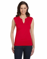 Women's Cotton/Spandex Slit-V Raglan T-Shirt