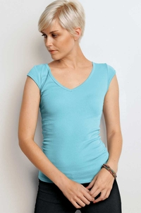 Women's Deep V-Neck  Sheer T-Shirt