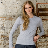 Women's Long Sleeve 100% Combed and Ringspun Cotton Jersey T-shirt