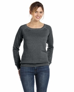 Womens Triblend Wide Neck Fleece Sweatshirt