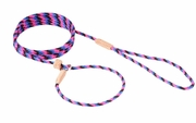 Black/Pink Blue Nylon Slip Lead with Stop