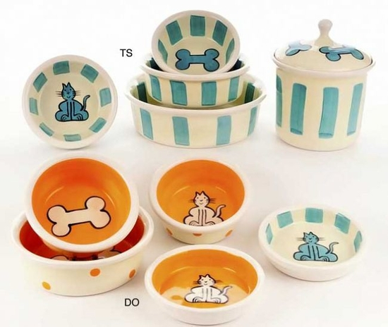 Bright Cat or Bone Bowls & Treat Jars