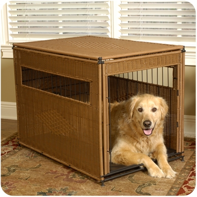 Dark Brown Wicker Pet Residence