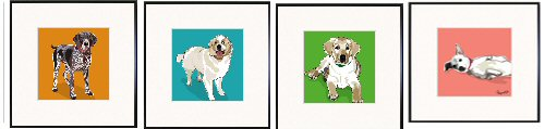 German Shorthaired Pointer, Great Pyrenees, Lab Pup, Jack Russell Print