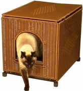 Litter Box Cover - Dark Brown Wicker