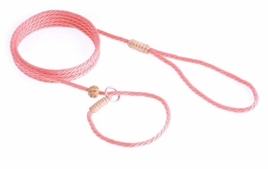 Peach Nylon Slip Lead with Stop