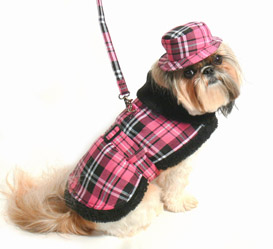 Pink Plaid Coat with Hat & Leash