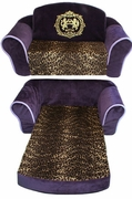 Royal Purple Sofa with Leopard trim and lining