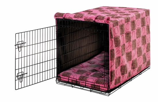 Tickled Pink/Flamingo Bones Luxury Crate Mat & Crate Cover