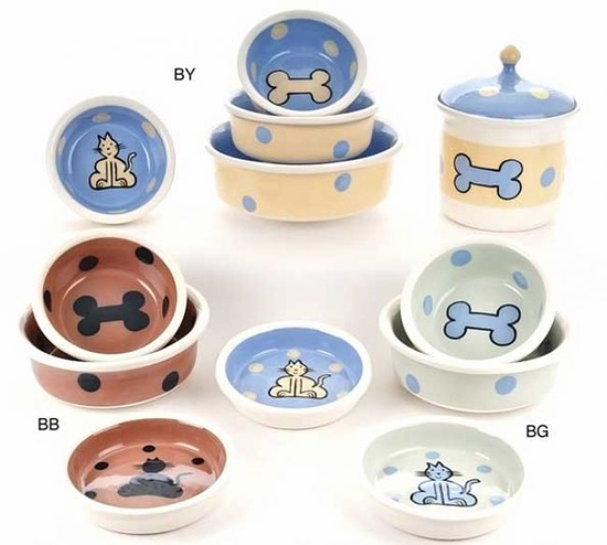 Yellow/Blue, Lime/Blue or Basic Brown Bone or Cat Bowl and Treat Jar
