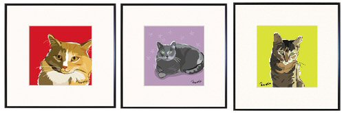 Yellow Tabby, Black Cat,  Tabby Cat Print