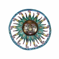 Abstract Smiling Sun Handcrafted Metal Wall Art