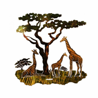 African Giraffe Family Metal Art