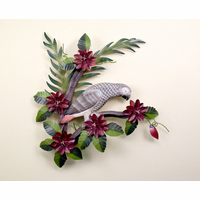 African Grey  Parrot in Paradise Metal Wall Sculpture