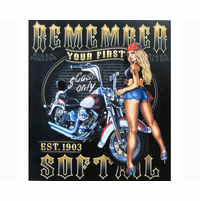Biker Pinup Girl Metal Art
