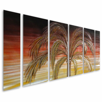 Coconut Palm Tree Sunset Metal Wall Hanging Set of 6